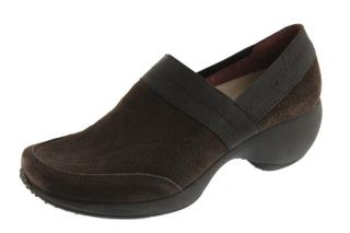 Anne Klein New Kyra Brown Suede Stretch Casual Slip on Clogs Heels