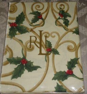 New Ralph Lauren Pine Grove Holly Red Green Cream Tablecloth 60 x 120