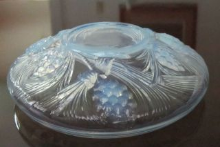 LARGE GLASS ART DECO OPALESCENT BOWL SABINO ERA SIGNED MINT