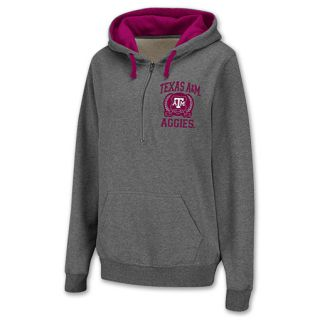 Texas A&M Aggies Half Zip NCAA Womens Hoodie Grey