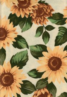 Sunflower Fall Vinyl PEVA Tablecloth Autumn Flower Design 52 x 70