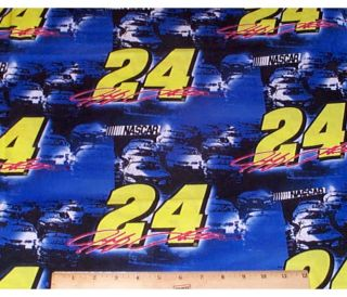 Jeff Gordon NASCAR Fabric 2 75yds Cotton 24 Racing Cars