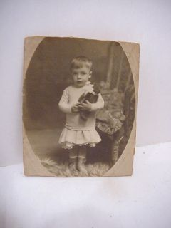 Vintage Antique Photographlittle Girl Steiff Teddy Bear Early 1900S