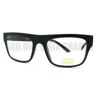 Black Nerdy Square Rectangular Horn Rimmed Clear Lens Glasses New