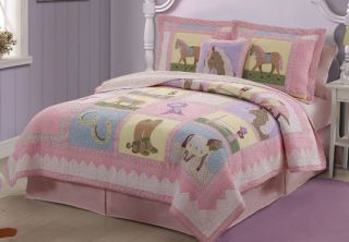 Girl Horse Lavender Ranch Pony Horse Shoe Girl Twin Bed in A Bag Set