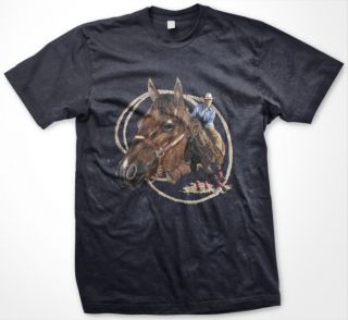 Cowboy Rodeo Horse Riding Lasso Western Mens T Shirt