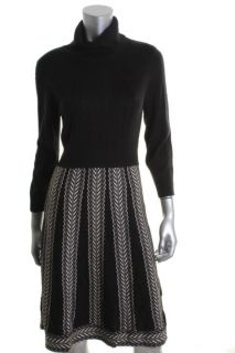Jessica Howard Black Ivory Pattern Turtleneck Wear to Work Dress