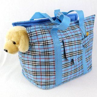 Blue Plaid Dog Puppy Cat Pet Travel Carrier Bag Tote Pet
