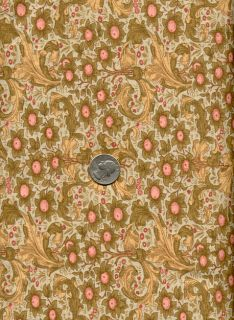 RARE Rose Hubble Art Nouveau William Morris Fabric Orchard Sage Gold