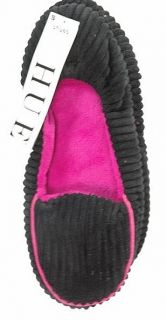 Hue Shues Womens Corduroy Loafer Non Skid Slip Resistant Slipper Black