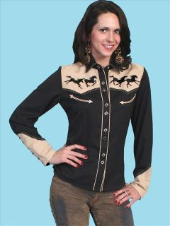 PL 762 Scully Western Cowgirl Rodeo Snap Shirt Horse Embroidery Black