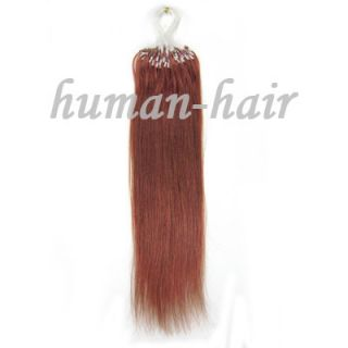 Remy Loop Micro Rings Human Hair Extensions 100S 33 Dark Auburn