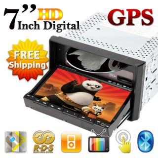 Double 2 DIN HD 7 in Dash Car DVD Player GPS SAT Navigation BT iPod