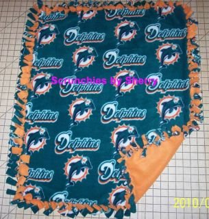 Miami Dolphins Football Fleece Baby Pet Dog Blanket