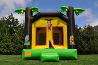 Commercial Inflatable Jungle Theme Bounce House Moonwalk Bouncer