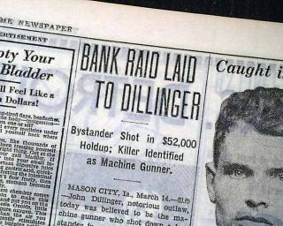 OUTLAW JOHN DILLINGER Mason City IA Iowa Machine Guns Bank Robbery1934