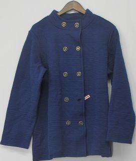 Isaac Mizrahi Live Sz 1x Quilted Knit Jacket Royal Navy Blue New 2nd