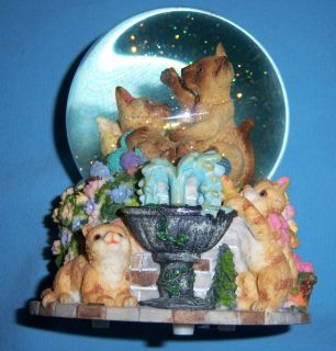 Cats Playing in Yarn Musical Figurine Snowglobe