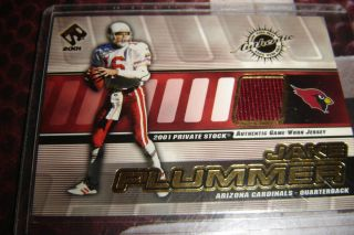 Jake The Snake Plummer Authentic Game Worn Jersey Card 01 Arizona