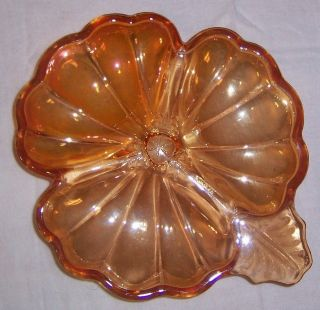 Jeannette DORIC Marigold Carnival Glass 3 Part Candy Dish Vintage