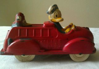 Vintage Sun Rubber Walt Disney Toy Red Fire Truck