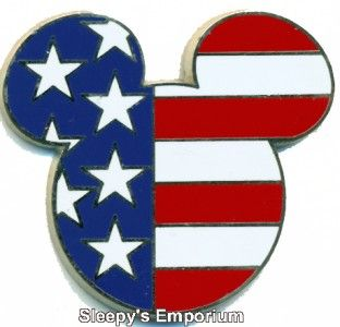 Mickey Head Ears Icon USA American Flag Disney Lanyard Pin