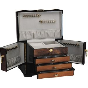 New Fully Lockable Luxury Jewelry Box Chest Exotic Wood