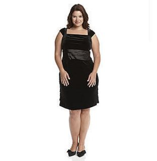 Jessica Howard Black Velvet Shutterpleat Dress Plus 18W