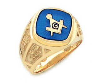Mens Sterling Silver or Gold Plated Masonic Freemason Mason Ring