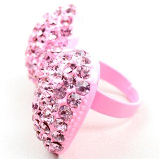 Light Pink Rhinestone Crystal Bling Cute Bow Adjustable Ring