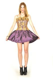 Vtg 80s Jessica McClintock Gold Metallic Lace Holiday Party Mini Dress