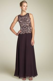 NWT J Kara Beaded Mock Two Piece Chiffon Gown Brown/Champagne/Copper