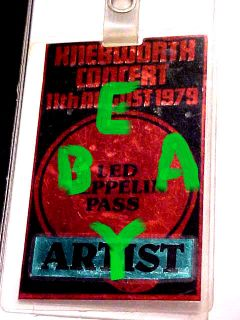 Jimmy Page LED Zeppelin Personal Used Artist Pass from Knebworth
