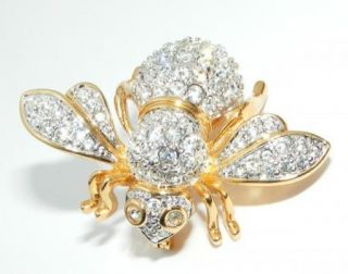 Joan Rivers Big Rhinestone Bee Bug Brooch Pin Costume Jewelry Clear