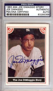 Joe DiMaggio Autographed Signed 1983 ASA Card PSA DNA Slabbed 83285356