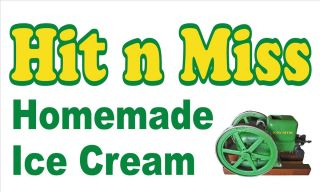 3x5 Hit N Miss Homemade Ice Cream Vinyl Banner John Deere