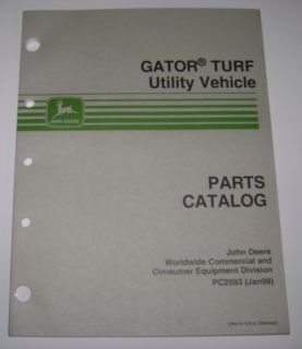 John Deere Gator Turf Utility Vehicle Parts Catalog Manual book PC2593
