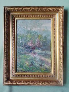 Antique Gold Framed Oil Painting on Canvas Board John Francis Murphy 1853 1921
