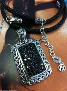 john hardy carved chain silver blk sapphire lava big dog tag pendant on blk cord