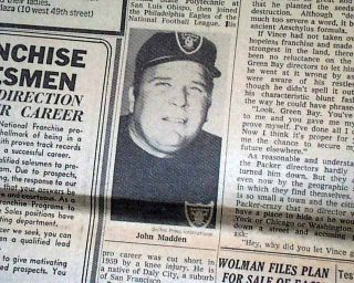 NFL Icon John Madden Becomes Oakland Raiders Head Football Coach 1969 Newspaper