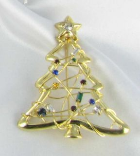 New Gold Tone Rhinestone Xmas Tree Pin Christmas Brooch Costume Jewelry Wired
