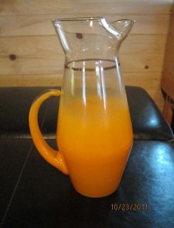 Mid Century Glass Orange Juice Pitcher Blended Clear and Orange