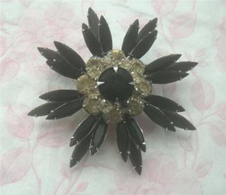 Vintage Judy Lee Black Clear Rhinestone Estate Brooch
