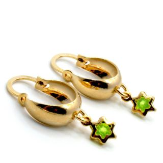 Gold 18K GF Hoop Earrings Baby Girl Kids 10mm Lime Green Star Crystal