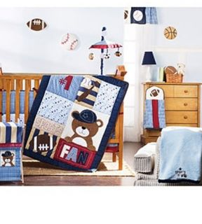 Lil Kids 1 Sports Fan Bear 4 Piece Crib Set Baby Bedding