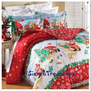 KING SIZE COMFORTER SHAM SKIRT SHEETS CHRISTMAS SANTA TREE PRESENTS