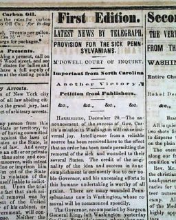 Kinston 1862 Pittsburgh PA Civil War Old Newspaper