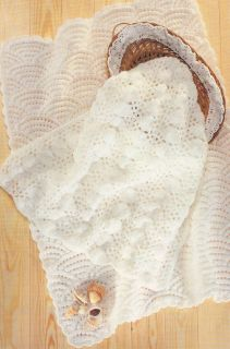 Scallops Sea Shell Motif Baby Blankets DK Knitting Pattern