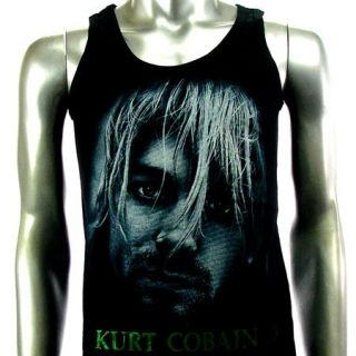 Sz M Nirvana Kurt Cobain T Shirt Tank Top Vest Biker Punk Men Rock V16