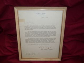 Lady Bird Johnson White House Seal Stamp Authentic Autograph Autopen